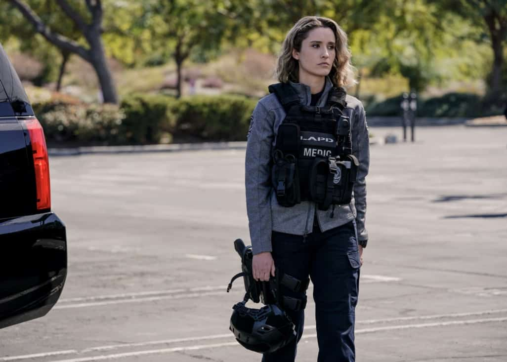 """SWAT Season 4 Episode 16 """"Lockdown"""" – When four escaped prisoners take control of a courthouse with Hondo and Deacon inside but unarmed, the two race to save the lives of innocent civilians while trying to avoid detection themselves. Also, Street visits his mother, Karen (Sherilynn Fenn), in the hospital and faces a pivotal decision, on S.W.A.T., Wednesday, May 12 (10:00-11:00 PM, ET/PT), on the CBS Television Network. Pictured (L-R): Norma Kuhling as Nora Fowler. Photo: Sonja Flemming/CBS ©2021 CBS Broadcasting, Inc. All Rights Reserved."""