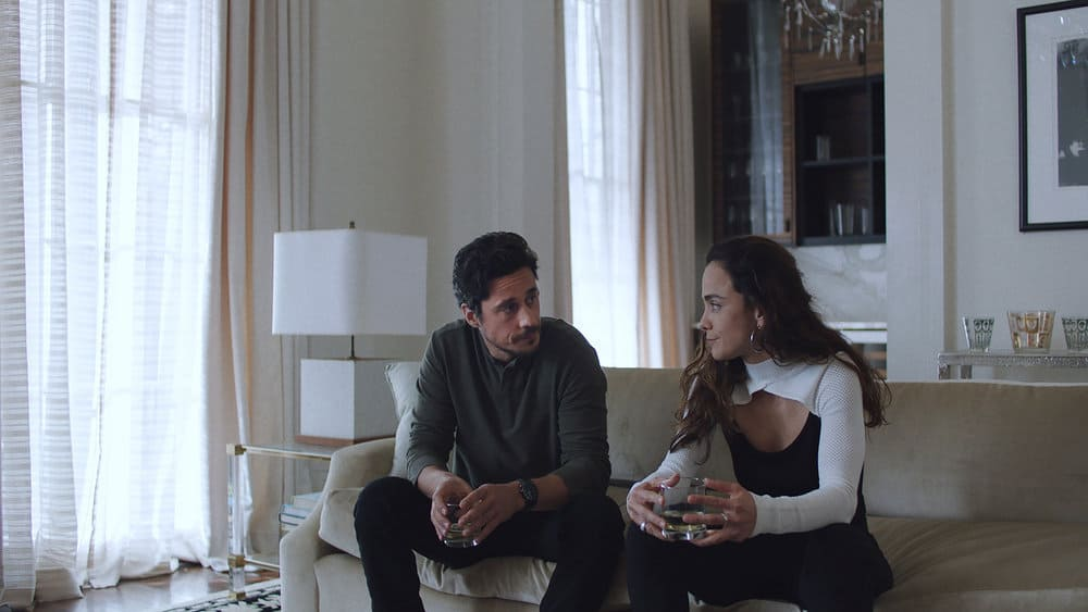 """QUEEN OF THE SOUTH Season 5 Episode 6 -- """"Silver or Lead"""" Episode 506 -- Pictured in this screengrab: (l-r) Peter Gadiot as James Valdez, Alice Braga as Teresa Mendoza -- (Photo by: USA Network)"""