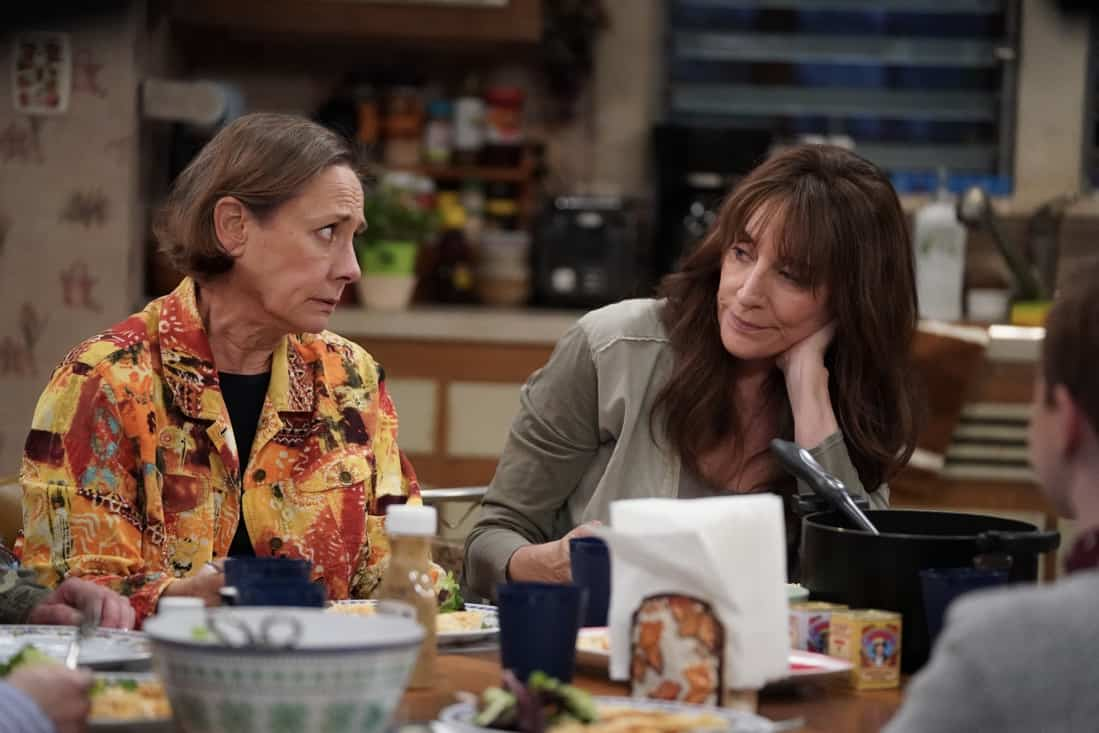 """THE CONNERS Season 3 Episode 19 - """"Jeopardé, Sobrieté, and Infidelité"""" – Darlene makes a decision about her trip to Hawaii, leading to a heated encounter with Barb. Meanwhile, Becky gives a presentation on addiction to Mark's class on an all-new episode of """"The Conners,"""" airing WEDNESDAY, MAY 12 (9:00-9:30p.m. EDT), on ABC. (ABC/Eric McCandless) LAURIE METCALF, KATEY SAGAL"""