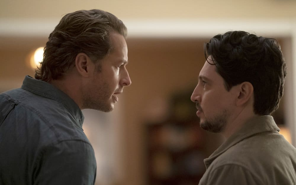 "MANIFEST Season 3 Episode 9 -- ""Bogey"" Episode 309 -- Pictured: (l-r) Josh Dallas as Ben Stone, Ali Lopez-Sohaili as Eagan -- (Photo by: Peter Kramer/NBC)"