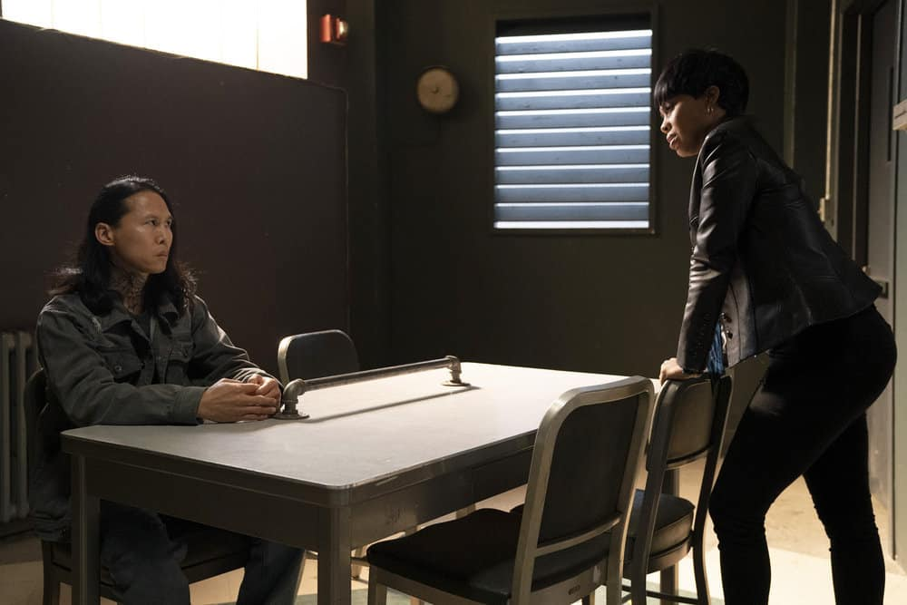 """LAW AND ORDER ORGANIZED CRIME Season 1 Episode 5 -- """"An Inferior Product"""" Episode 105 -- Pictured: (l-r) Smitty Chai as Kwan Chen, Danielle Moné Truitt as Sergeant Ayanna Bell -- (Photo by: Virginia Sherwood/NBC)"""