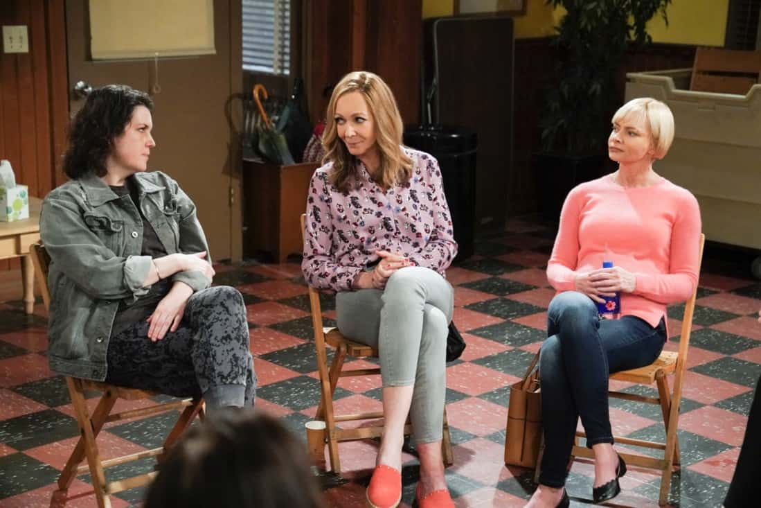 """MOM Season 8 Episode 18 """"My Kinda People and the Big To-Do"""" -- Bonnie gains a new outlook on her sobriety after dealing with difficult news. Also, Jill and Andy take a big step in their relationship, on the series finale of MOM, Thursday, May 13 (9:00-9:30 PM, ET/PT) on the CBS Television Network. Melanie Lynskey and Rondi Reed guest star. Pictured (L-R): Melanie Lynskey as Shannon, Allison Janney as Bonnie, and Jaime Pressly as Jill Photo: Michael Yarish/©2021 Warner Bros. Entertainment Inc. All Rights Reserved."""