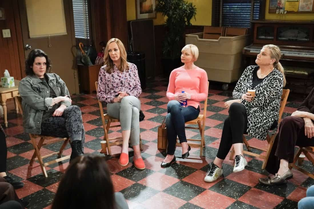 """MOM Season 8 Episode 18 """"My Kinda People and the Big To-Do"""" -- Bonnie gains a new outlook on her sobriety after dealing with difficult news. Also, Jill and Andy take a big step in their relationship, on the series finale of MOM, Thursday, May 13 (9:00-9:30 PM, ET/PT) on the CBS Television Network. Melanie Lynskey and Rondi Reed guest star. Pictured (L-R): Melanie Lynskey as Shannon, Allison Janney as Bonnie, Jaime Pressly as Jill, and Kristen Johnston as Tammy Photo: Michael Yarish/©2021 Warner Bros. Entertainment Inc. All Rights Reserved."""