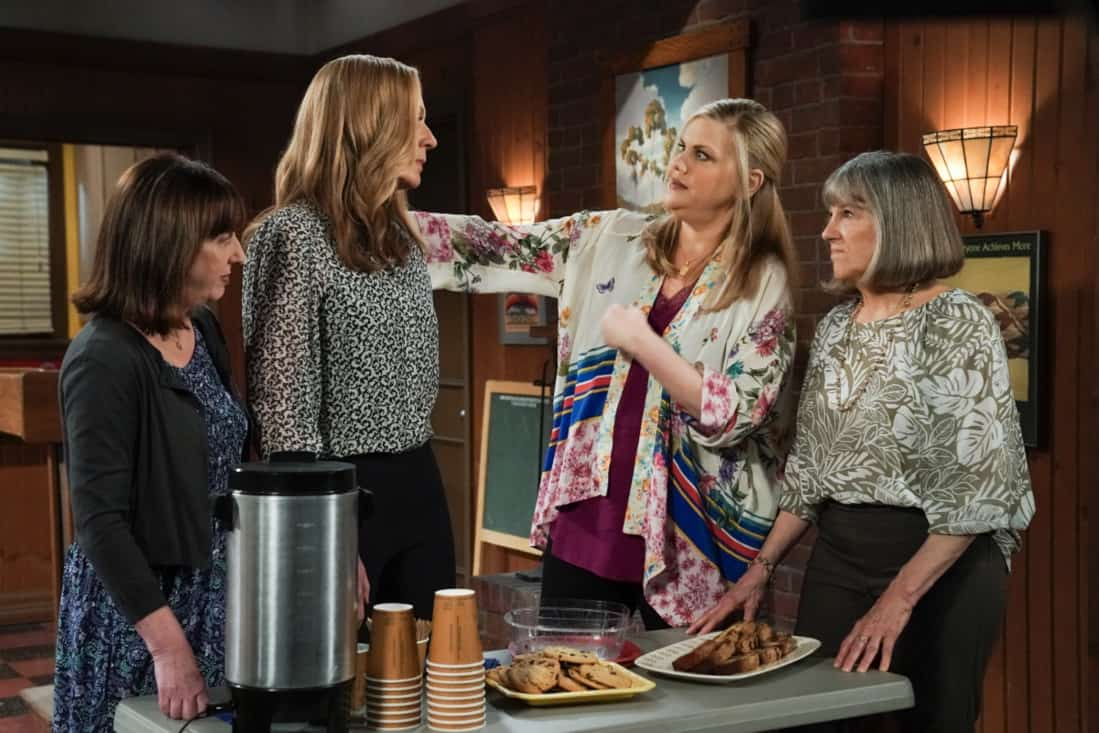 """MOM Season 8 Episode 18 """"My Kinda People and the Big To-Do"""" -- Bonnie gains a new outlook on her sobriety after dealing with difficult news. Also, Jill and Andy take a big step in their relationship, on the series finale of MOM, Thursday, May 13 (9:00-9:30 PM, ET/PT) on the CBS Television Network. Melanie Lynskey and Rondi Reed guest star. Pictured (L-R): Beth Hall as Wendy, Allison Janney as Bonnie, Kristen Johnston as Tammy, and Mimi Kennedy as Marjorie Photo: Michael Yarish/©2021 Warner Bros. Entertainment Inc. All Rights Reserved."""