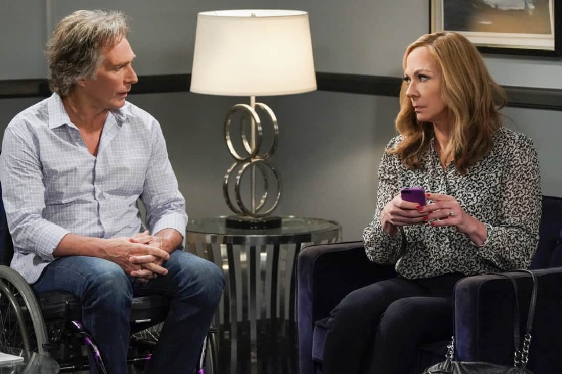 """MOM Season 8 Episode 18 """"My Kinda People and the Big To-Do"""" -- Bonnie gains a new outlook on her sobriety after dealing with difficult news. Also, Jill and Andy take a big step in their relationship, on the series finale of MOM, Thursday, May 13 (9:00-9:30 PM, ET/PT) on the CBS Television Network. Melanie Lynskey and Rondi Reed guest star. Pictured (L-R): William Fichtner as Adam and Allison Janney as Bonnie Photo: Michael Yarish/©2021 Warner Bros. Entertainment Inc. All Rights Reserved."""