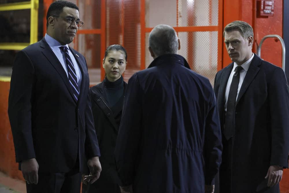 "THE BLACKLIST Season 8 Episode 17 -- ""Ivan Stepanov (#5)"" Episode 817 -- Pictured: (l-r) Harry Lennix as Harold Cooper, Laura Sohn as Agent Alina Park, Diego Klattenhoff as Donald Ressler -- (Photo by: Will Hart/NBC)"
