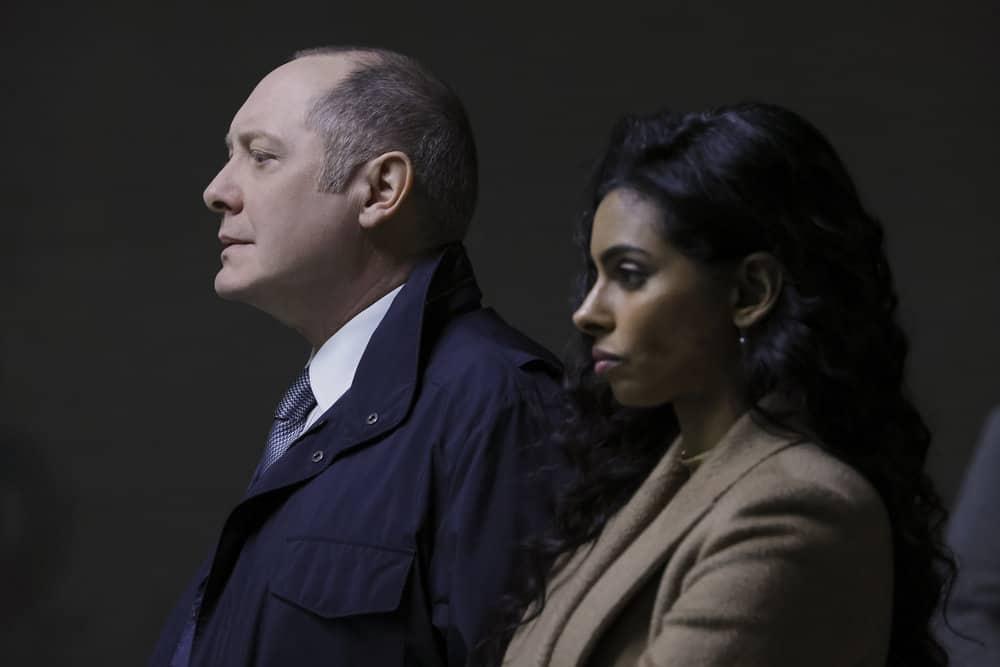 "THE BLACKLIST Season 8 Episode 17 -- ""Ivan Stepanov (#5)"" Episode 817 -- Pictured: (l-r) James Spader as Raymond ""Red"" Reddington, Rana Roy as Priya Laghari -- (Photo by: Will Hart/NBC)"
