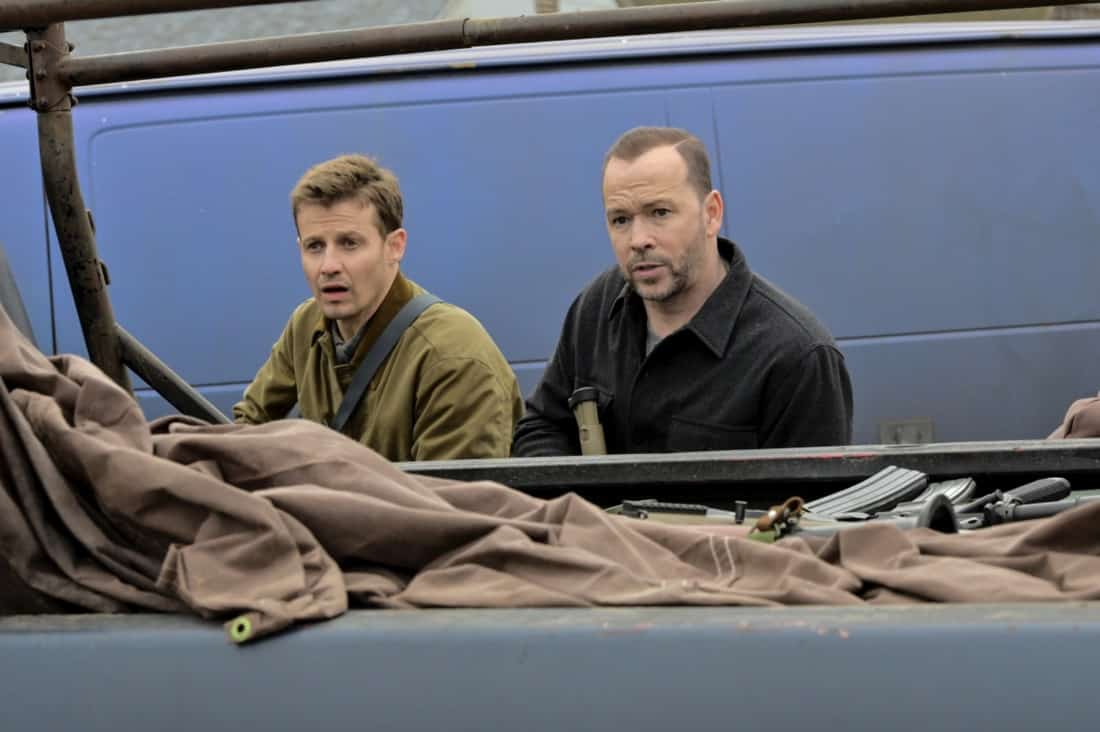 """BLUE BLOODS Season 11 Episode 16 """"Justifies The Means"""" – The Reagans band together to prevent Joe Hill from being killed in the line of duty like his father when they fear Joe's cover has been blown within the gunrunning outfit he's helping the ATF bring down, in the second part of the two-hour 11th season finale of BLUE BLOODS, Friday, May 14 (10:00-11:00 PM ET/PT) on the CBS Television Network. Gloria Reuben guest stars as Special Agent Rachel Weber. Pictured:  Will Estes as Jamie Reagan,  Donnie Wahlberg as Danny Reagan.  Photo: John Paul Filo/CBS ©2021  CBS Broadcasting Inc. All Rights Reserved."""