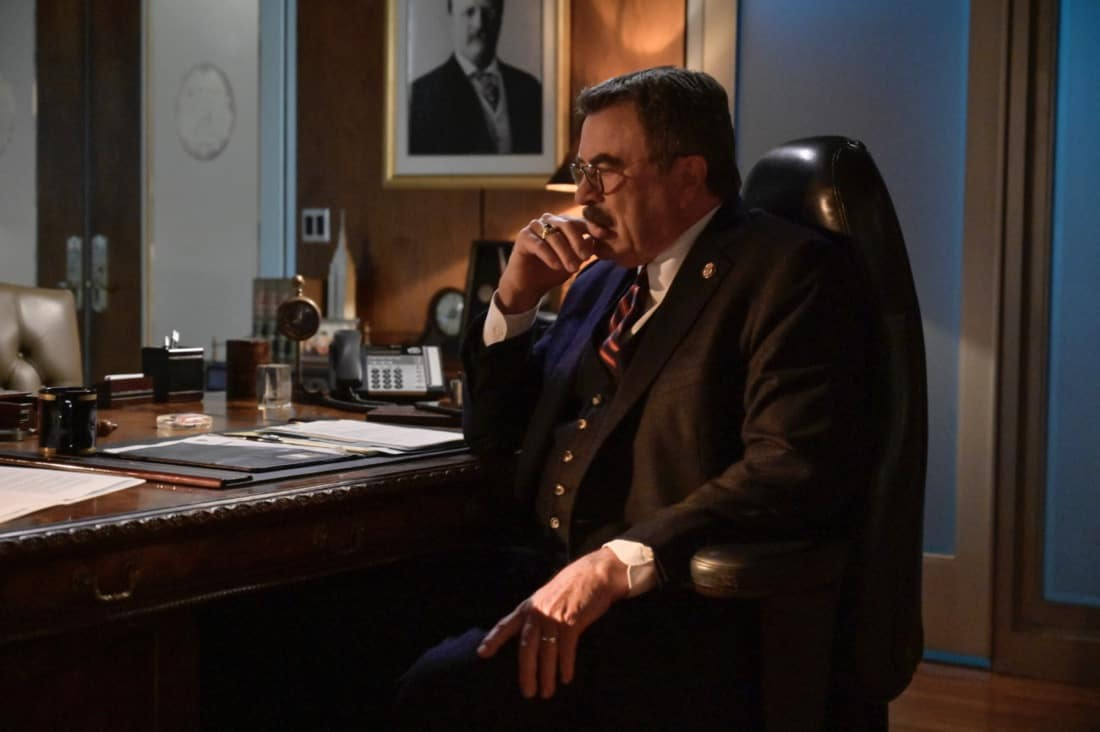 """BLUE BLOODS Season 11 Episode 16 """"Justifies The Means"""" – The Reagans band together to prevent Joe Hill from being killed in the line of duty like his father when they fear Joe's cover has been blown within the gunrunning outfit he's helping the ATF bring down, in the second part of the two-hour 11th season finale of BLUE BLOODS, Friday, May 14 (10:00-11:00 PM ET/PT) on the CBS Television Network. Gloria Reuben guest stars as Special Agent Rachel Weber. Pictured: Tom Selleck as Frank Reagan.   Photo: John Paul Filo/CBS ©2021  CBS Broadcasting Inc. All Rights Reserved."""