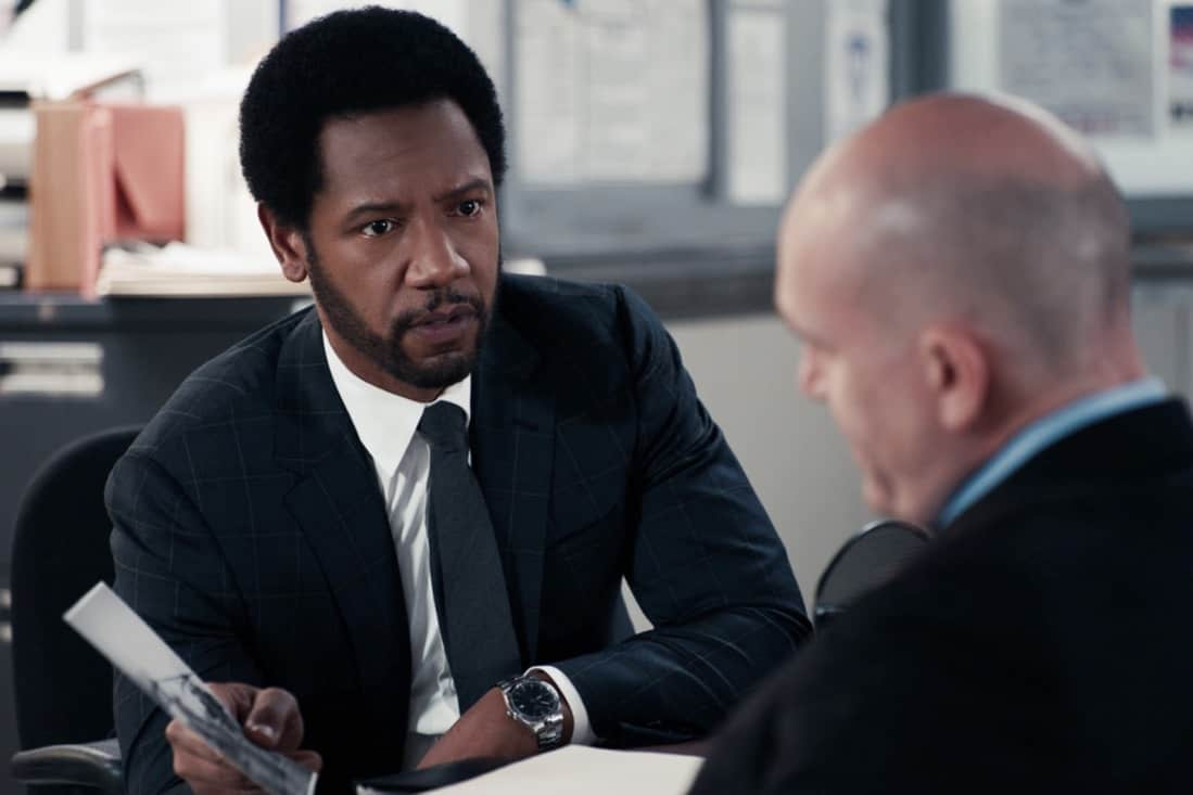 """THE EQUALIZER Season 1 Episode 9 """"True Believer"""" – McCall races to help a concerned wife locate her husband before he helps an extremist group carry out an imminent bombing in the city. Also, McCall worries that her anonymity will be compromised when Delilah asks her to participate in a mother/daughter social media video, on THE EQUALIZER, Sunday, May 16 (8:00-9:00 PM, ET/PT), on the CBS Television Network. Pictured: Tory Kittles as Detective Marcus Dante Photo: Screen Grab/CBS ©2021 CBS Broadcasting, Inc. All Rights Reserved."""