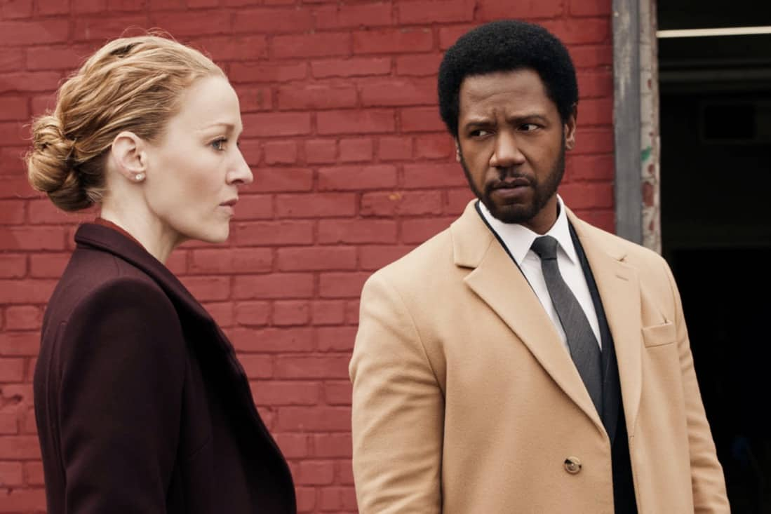 """THE EQUALIZER Season 1 Episode 9 """"True Believer"""" – McCall races to help a concerned wife locate her husband before he helps an extremist group carry out an imminent bombing in the city. Also, McCall worries that her anonymity will be compromised when Delilah asks her to participate in a mother/daughter social media video, on THE EQUALIZER, Sunday, May 16 (8:00-9:00 PM, ET/PT), on the CBS Television Network. Pictured (L-R): Jennifer Ferrin as D.A. Avery Grafton and Tory Kittles as Detective Marcus Dante Photo: Screen Grab/CBS ©2021 CBS Broadcasting, Inc. All Rights Reserved."""