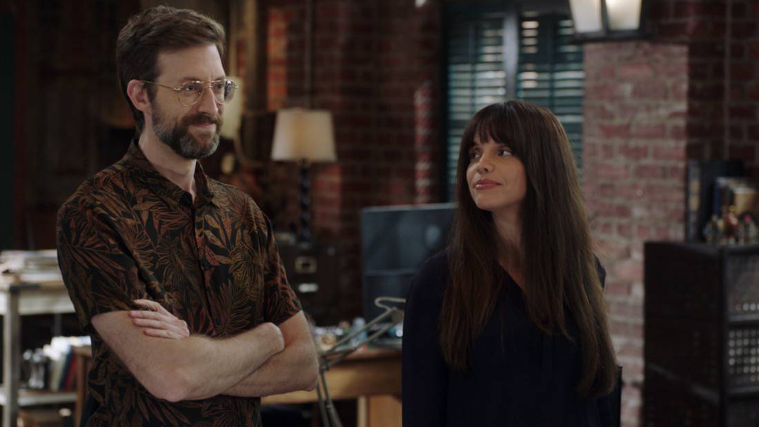 """NCIS NEW ORLEANS Season 7 Episode 15 """"Runs in the Family"""" – As Pride and Rita plan their wedding, the FBI arrests Connor (Drew Scheid) in connection to the bar's firebombing as a means of getting to his mother (Callie Thorne) and Rita may be the only person who can save them, on """"NCIS: NEW ORLEANS,"""" Sunday, May 16 (10:00-11:00 PM, ET/PT) on the CBS Television Network. Pictured L-R: Rob Kerkovich as Forensic Agent Sebastian Lund and Vanessa Ferlito as Special Agent Tammy Gregorio Photo: Screen Grab/CBS ©2021 CBS Broadcasting, Inc. All Rights Reserved."""