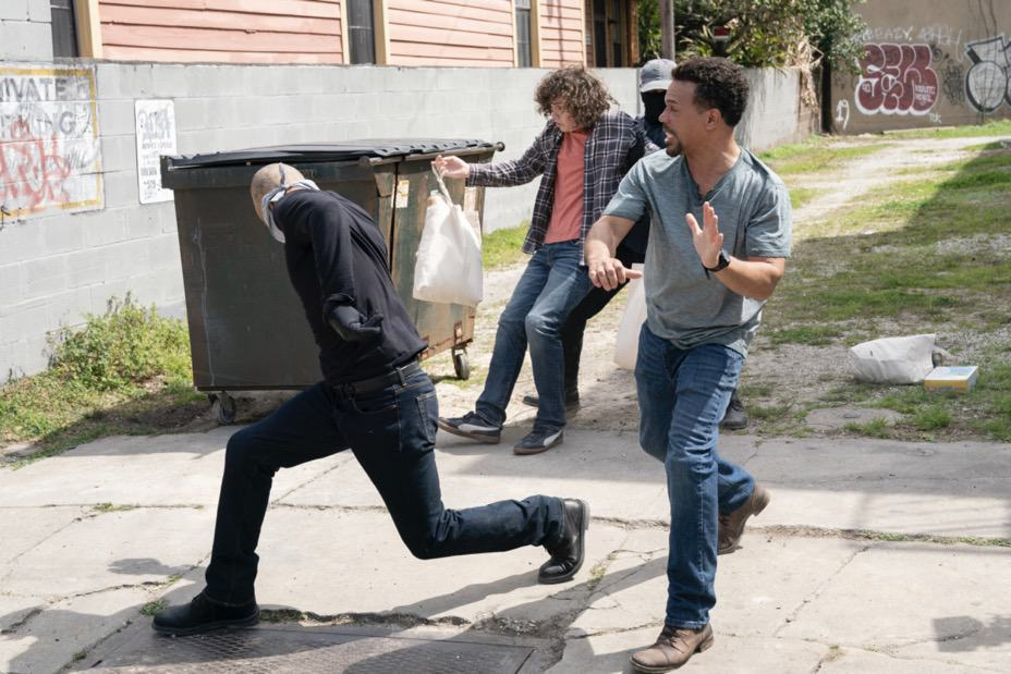 """NCIS NEW ORLEANS Season 7 Episode 15 """"Runs in the Family"""" – As Pride and Rita plan their wedding, the FBI arrests Connor (Drew Scheid) in connection to the bar's firebombing as a means of getting to his mother (Callie Thorne) and Rita may be the only person who can save them, on """"NCIS: NEW ORLEANS,"""" Sunday, May 16 (10:00-11:00 PM, ET/PT) on the CBS Television Network. Pictured L-R: Drew Scheid as Connor Dean and Jason Alan Carvell as Jimmy Boyd Photo: Sam Lothridge/CBS ©2021 CBS Broadcasting, Inc. All Rights Reserved."""