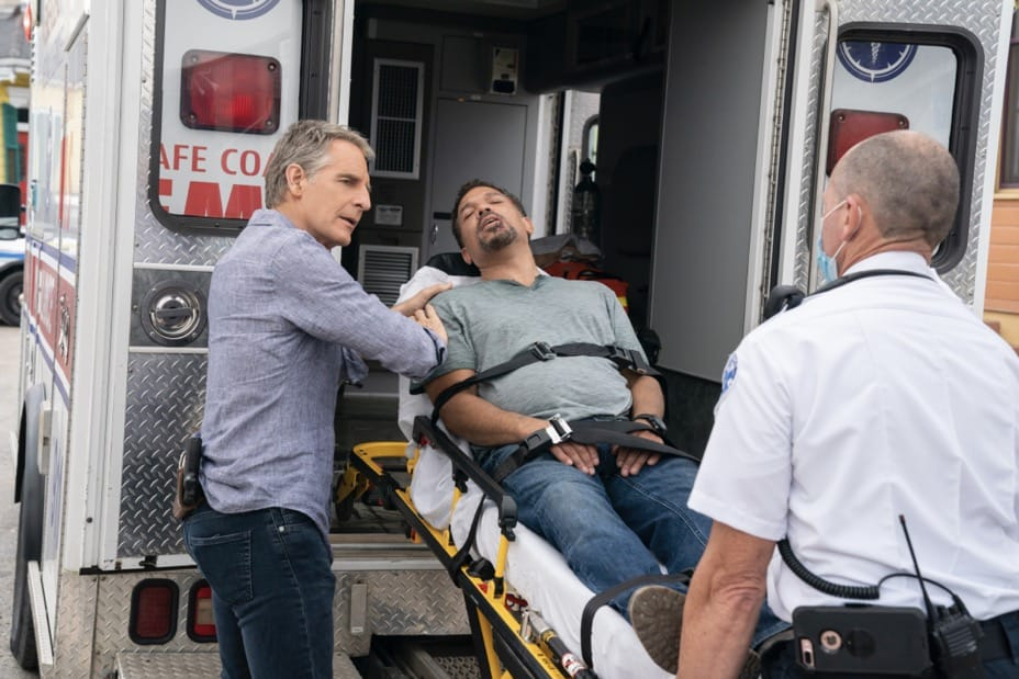 """NCIS NEW ORLEANS Season 7 Episode 15 """"Runs in the Family"""" – As Pride and Rita plan their wedding, the FBI arrests Connor (Drew Scheid) in connection to the bar's firebombing as a means of getting to his mother (Callie Thorne) and Rita may be the only person who can save them, on """"NCIS: NEW ORLEANS,"""" Sunday, May 16 (10:00-11:00 PM, ET/PT) on the CBS Television Network. Pictured L-R: Scott Bakula as Special Agent Dwayne Pride and Jason Alan Carvell as Jimmy Boyd Photo: Sam Lothridge/CBS ©2021 CBS Broadcasting, Inc. All Rights Reserved."""