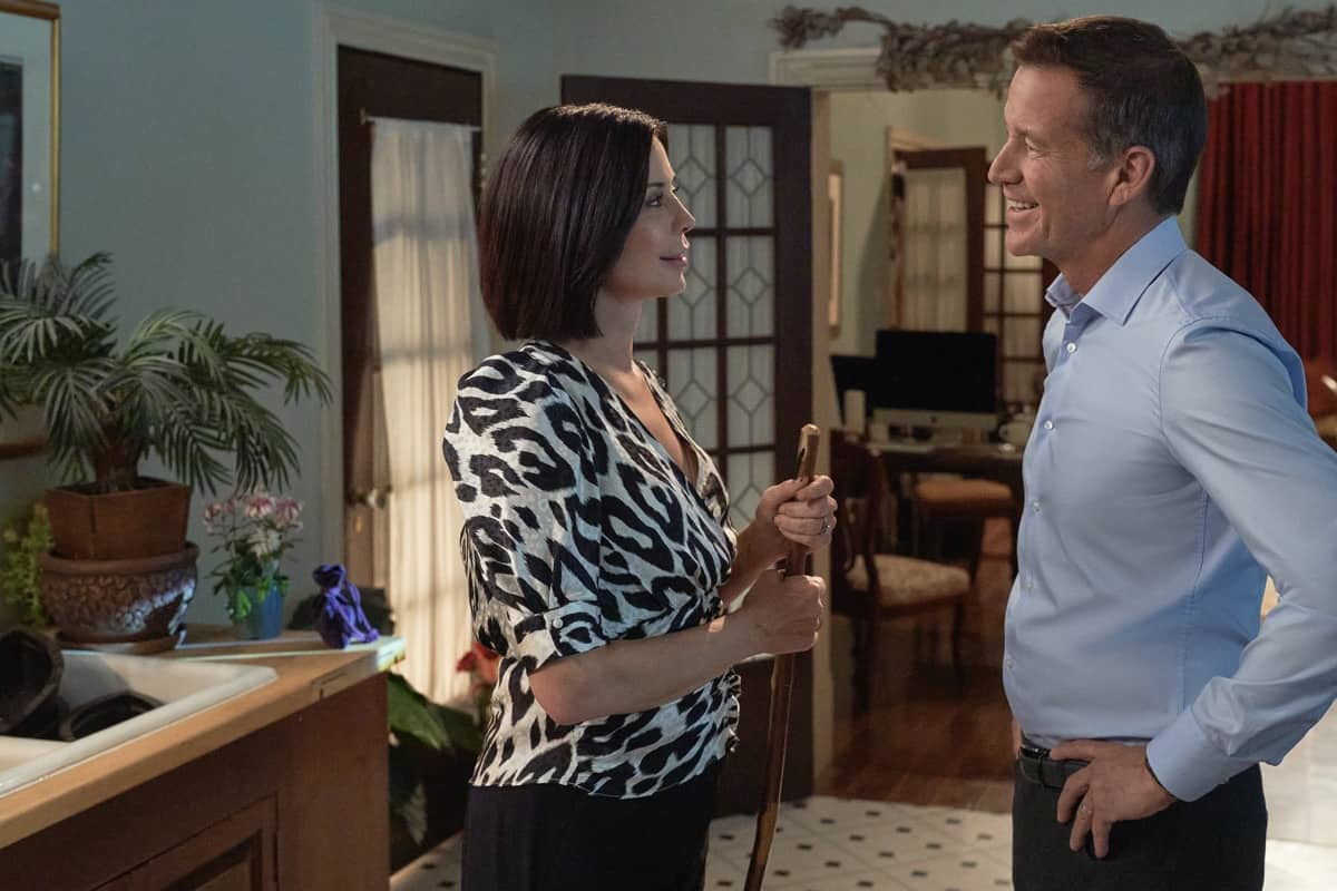 GOOD WITCH Season 7 Episode 1 Cassie and Sam's much overdue date doesn't go as planned when they end up stranded on an island and make a surprising discovery. Meanwhile, plans are in overdrive for Abigail and Donovan's engagement party.     Photo: Catherine Bell, James Denton  Credit: ©2021 Crown Media United States LLC/Photographer: Peter Stranks