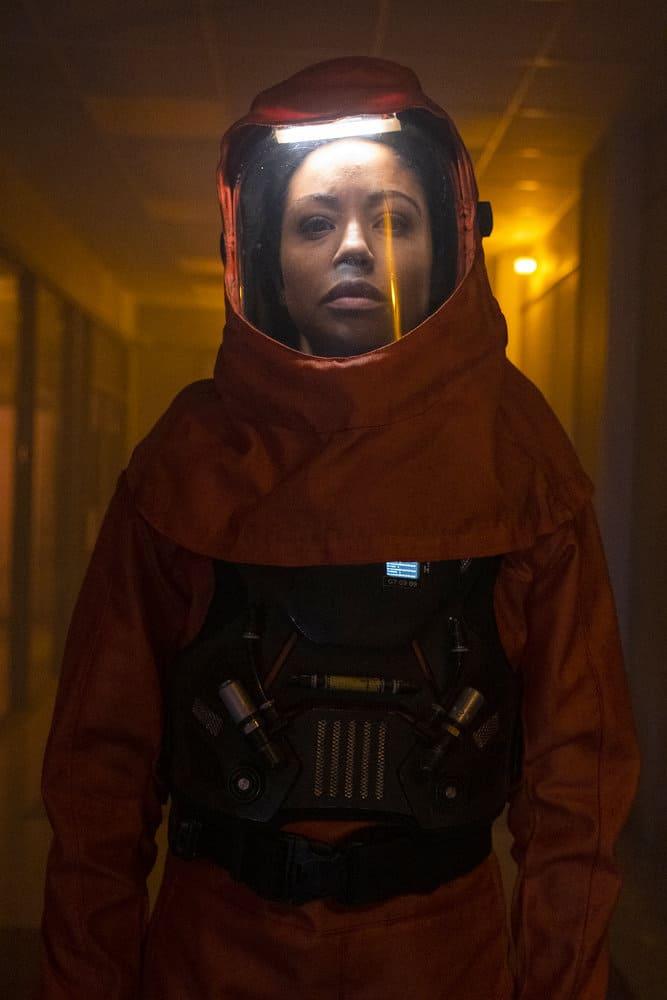"DEBRIS Season 1 Episode 12-- ""A Message From Ground Control"" Episode: 112 -- Pictured: (l-r) Riann Steele as Finola Jones -- (Photo by: James Dittiger/NBC)"