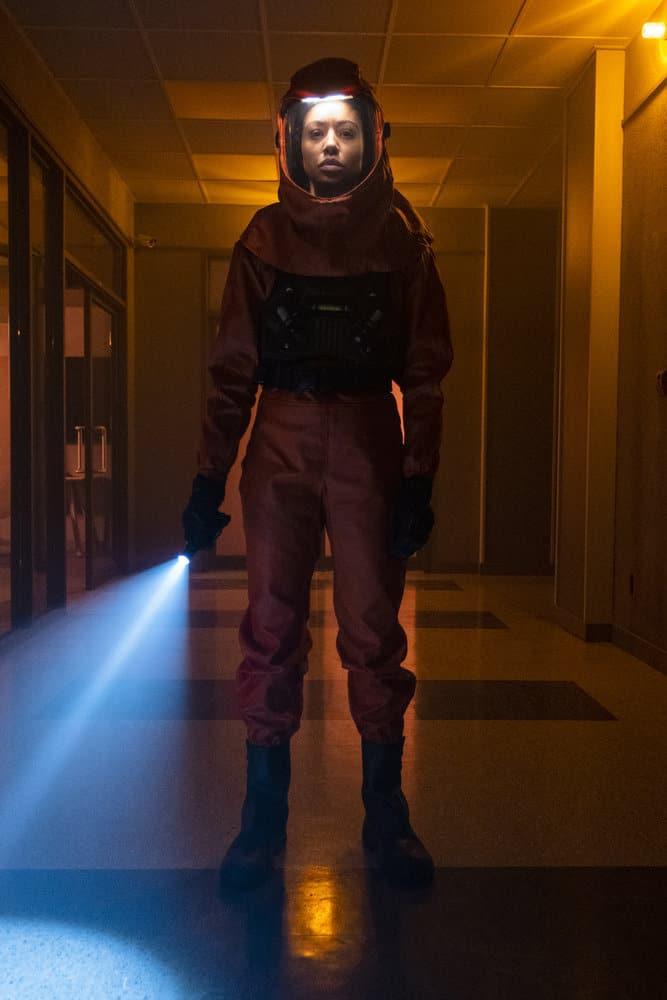 "DEBRIS Season 1 Episode 12 -- ""A Message From Ground Control"" Episode: 112 -- Pictured: Riann Steele as Finola Jones -- (Photo by: James Dittiger/NBC)"