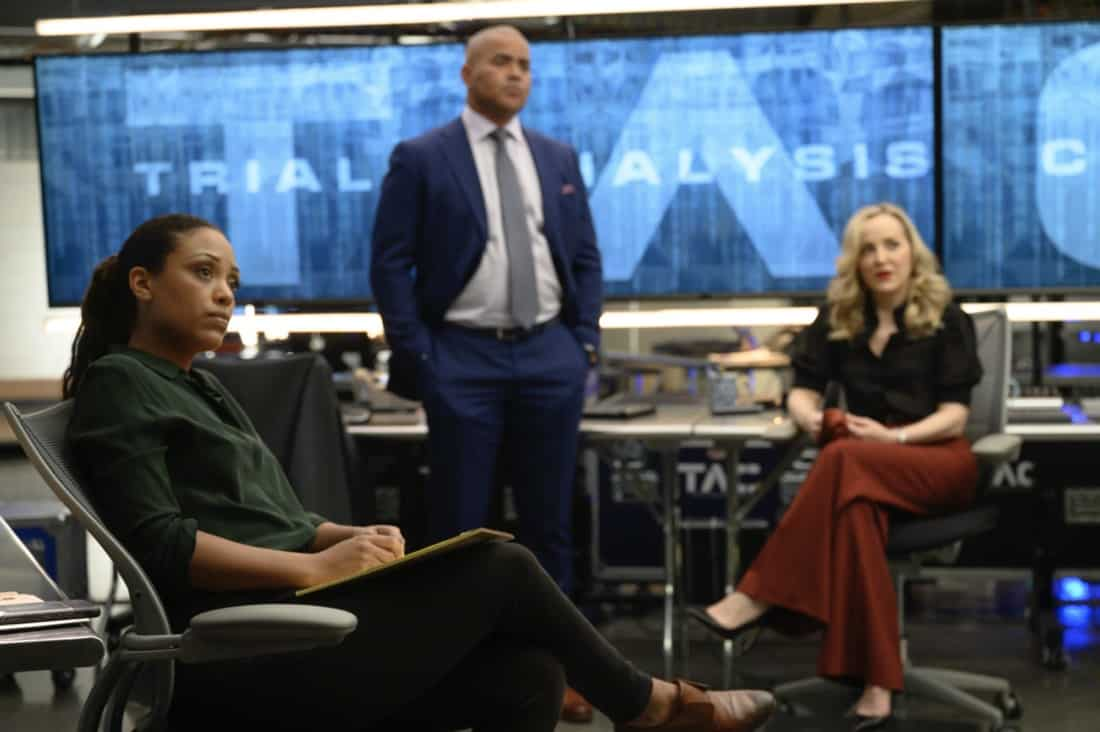 """BULL Season 5 Episode 16 """"A Friend in Need"""" – Izzy puts the brakes on her wedding to Bull when he jeopardizes Benny's election campaign by handling the defense in the corruption trial of the former District Attorney Benny hopes to replace, on the fifth season finale of BULL, Monday, May 17 (10:00-11:00 PM, ET/PT) on the CBS Television Network. Pictured L-R: Jaime Lee Kirchner as Danny James, Christopher Jackson as Chunk Palmer, and Geneva Carr as Marissa Morgan Photo: David M. Russell/CBS ©2021 CBS Broadcasting, Inc. All Rights Reserved"""