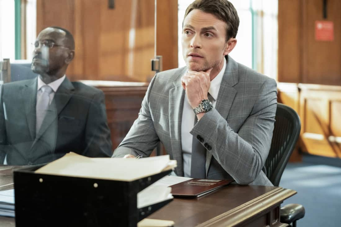 """ALL RISE Season 2 Episode 16 """"Leap of Faith"""" — Lola is tested like never before during a high-profile murder case when the women of Audubon and Associates—Rachel and Amy—combine forces with Public Defender Emily to represent the co-defendants. Also, David Sanders (Nicholas Christopher) helps Lola court donations and endorsements to prepare for her upcoming re-election campaign, on ALL RISE, Monday, May 17 (9:00- 10:00 PM, ET/PT), on the CBS Television Network. Pictured: Wilson Bethel as Mark Callan Photo Credit: Erik Voake/©2021 Warner Bros. Entertainment Inc. All Rights Reserved."""