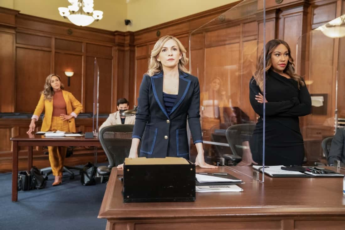 """ALL RISE Season 2 Episode 16 """"Leap of Faith"""" — Lola is tested like never before during a high-profile murder case when the women of Audubon and Associates—Rachel and Amy—combine forces with Public Defender Emily to represent the co-defendants. Also, David Sanders (Nicholas Christopher) helps Lola court donations and endorsements to prepare for her upcoming re-election campaign, on ALL RISE, Monday, May 17 (9:00- 10:00 PM, ET/PT), on the CBS Television Network. Pictured (L-R): Jessica Camacho as Emily Lopez, Derek Luh as Jack Allen, Lindsay Gort as Amy Quinn and Ryan Michelle Bathe as Rachel Audubon Photo Credit: Erik Voake/©2021 Warner Bros. Entertainment Inc. All Rights Reserved."""