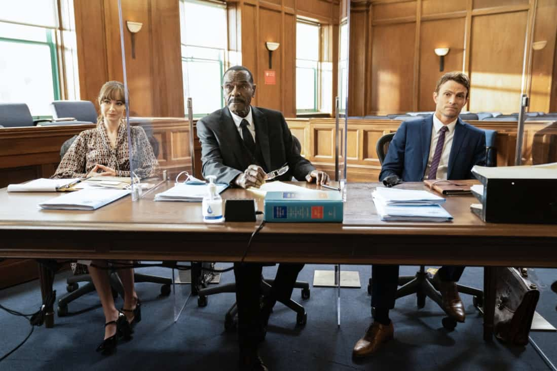 """ALL RISE Season 2 Episode 16 """"Leap of Faith"""" — Lola is tested like never before during a high-profile murder case when the women of Audubon and Associates—Rachel and Amy—combine forces with Public Defender Emily to represent the co-defendants. Also, David Sanders (Nicholas Christopher) helps Lola court donations and endorsements to prepare for her upcoming re-election campaign, on ALL RISE, Monday, May 17 (9:00- 10:00 PM, ET/PT), on the CBS Television Network. Pictured (L-R): Audrey Corsa as Samantha Powell, Tony Carver as DDA Tony Carver, and Wilson Bethel as Mark Callan Photo Credit: Erik Voake/©2021 Warner Bros. Entertainment Inc. All Rights Reserved."""