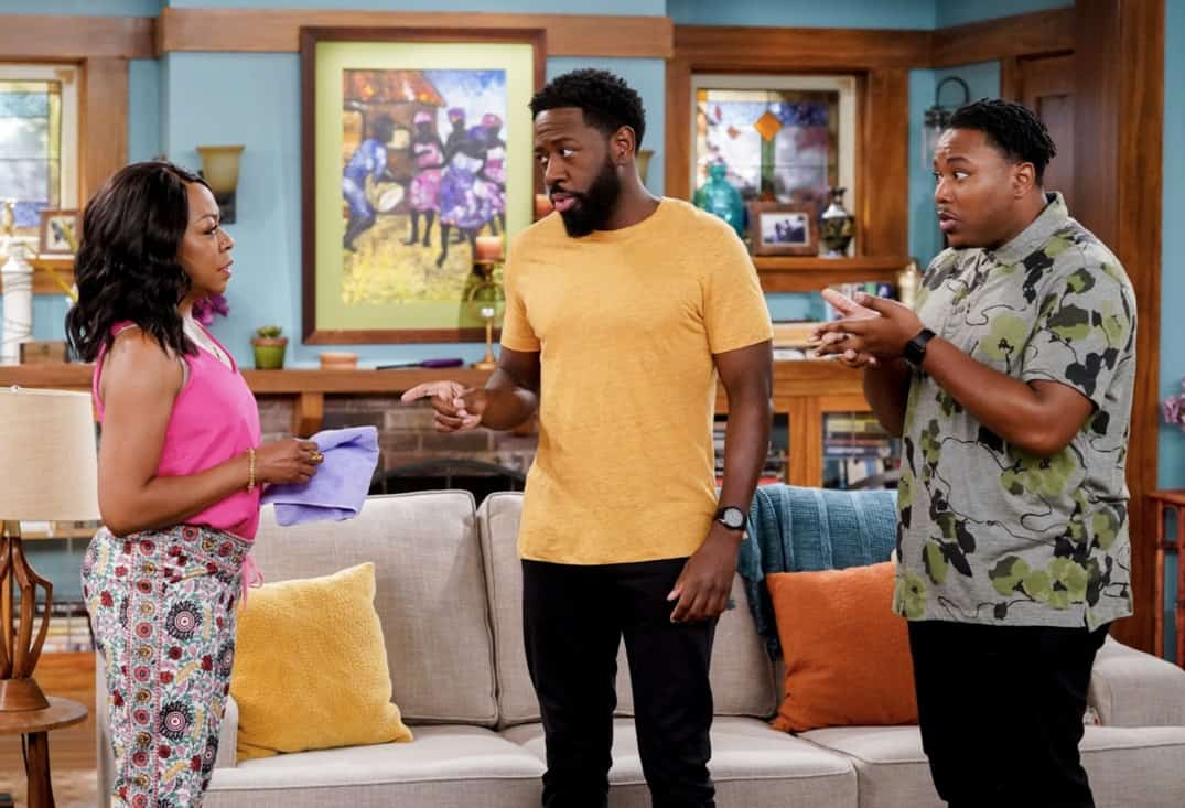 """THE NEIGHBORHOOD Season 3 Episode 18 """"Welcome to the Surprise"""" — Pictured: Tichina Arnold (Tina Butler), Sheaun McKinney (Malcolm Butler), and Marcel Spears (Marty Butler). When Calvin receives an unconventional birthday gift involving his father, Dave suggests they spend the day celebrating in a way that honors the late Butler patriarch. Also, an unexpected development changes the Johnsons' lives forever, on the third season finale of THE NEIGHBORHOOD, Monday, May 17 (8:00-8:30 PM, ET/PT), on the CBS Television Network. Photo: Monty Brinton/CBS ©2021 CBS Broadcasting, Inc. All Rights Reserved."""