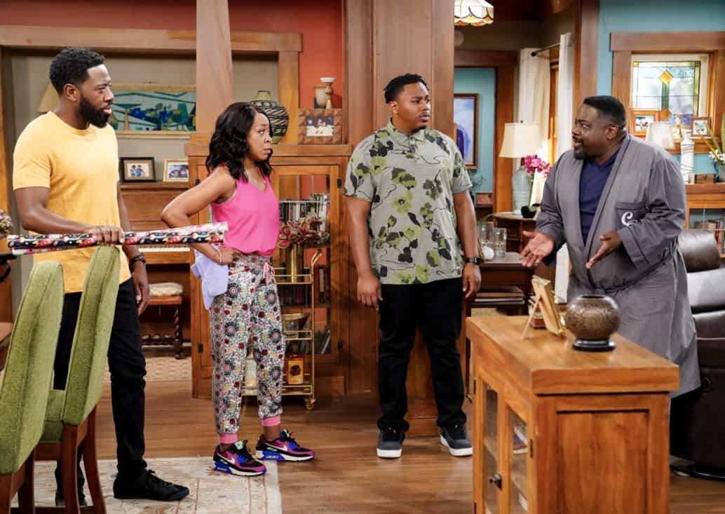 """THE NEIGHBORHOOD Season 3 Episode 18 """"Welcome to the Surprise"""" — Pictured: Sheaun McKinney (Malcolm Butler), Tichina Arnold (Tina Butler), Marcel Spears (Marty Butler), and Cedric the Entertainer (Calvin Butler). When Calvin receives an unconventional birthday gift involving his father, Dave suggests they spend the day celebrating in a way that honors the late Butler patriarch. Also, an unexpected development changes the Johnsons' lives forever, on the third season finale of THE NEIGHBORHOOD, Monday, May 17 (8:00-8:30 PM, ET/PT), on the CBS Television Network. Photo: Monty Brinton/CBS ©2021 CBS Broadcasting, Inc. All Rights Reserved."""