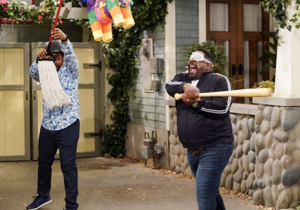 """THE NEIGHBORHOOD Season 3 Episode 18 """"Welcome to the Surprise"""" — Pictured: Marcel Spears (Marty Butler) and Cedric the Entertainer (Calvin Butler). When Calvin receives an unconventional birthday gift involving his father, Dave suggests they spend the day celebrating in a way that honors the late Butler patriarch. Also, an unexpected development changes the Johnsons' lives forever, on the third season finale of THE NEIGHBORHOOD, Monday, May 17 (8:00-8:30 PM, ET/PT), on the CBS Television Network. Photo: Monty Brinton/CBS ©2021 CBS Broadcasting, Inc. All Rights Reserved."""