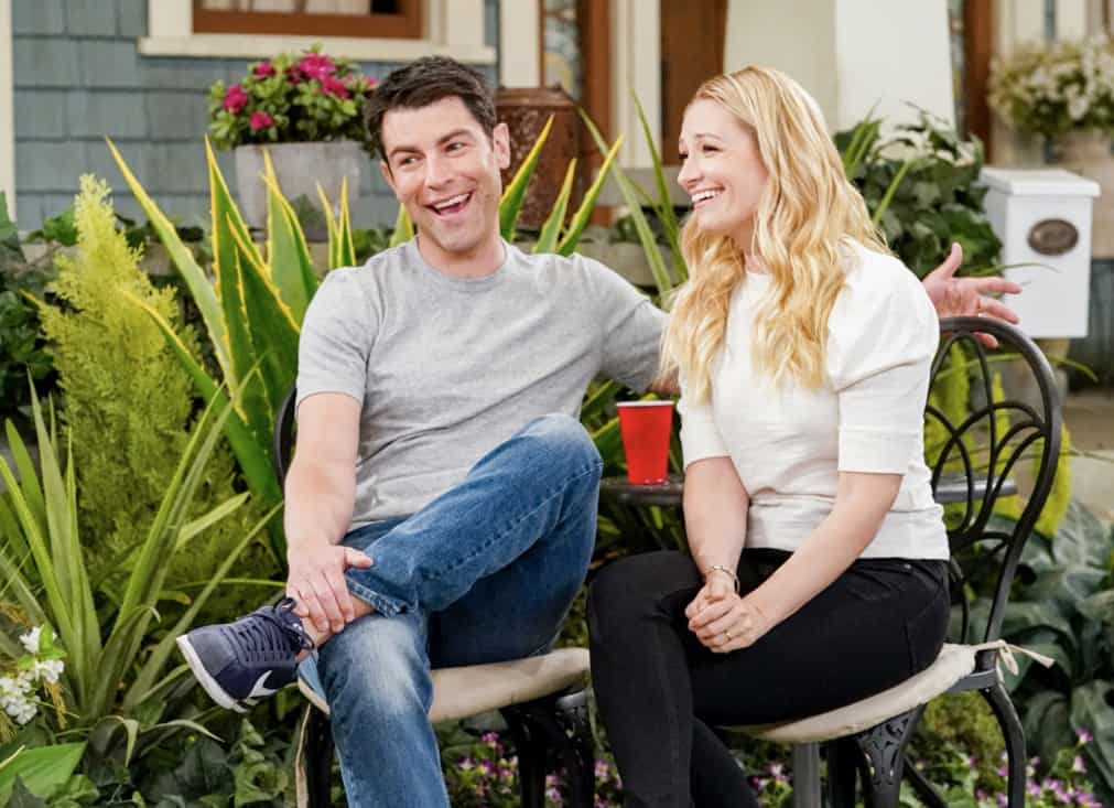 """THE NEIGHBORHOOD Season 3 Episode 18 """"Welcome to the Surprise"""" — Pictured: Max Greenfield (Dave Johnson) and Beth Behrs (Gemma Johnson. When Calvin receives an unconventional birthday gift involving his father, Dave suggests they spend the day celebrating in a way that honors the late Butler patriarch. Also, an unexpected development changes the Johnsons' lives forever, on the third season finale of THE NEIGHBORHOOD, Monday, May 17 (8:00-8:30 PM, ET/PT), on the CBS Television Network. Photo: Monty Brinton/CBS ©2021 CBS Broadcasting, Inc. All Rights Reserved."""
