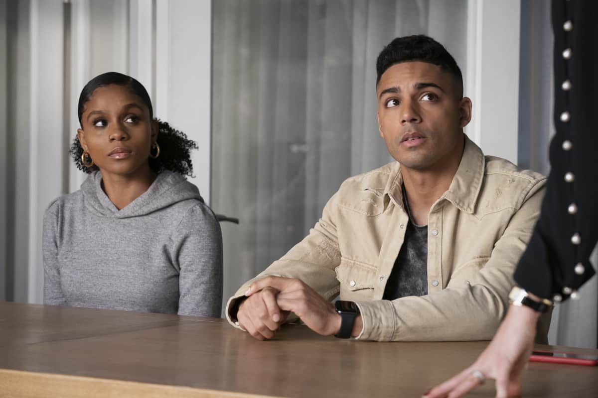 """ALL AMERICAN Season 3 Episode 12 -- """"Fight the Power"""" -- Image Number: ALA312b_0423r.jpg -- Pictured (L-R): Geffri Maya as Simone and Michael Evans Behling as Jordan -- Photo: Erik Voake/The CW -- © 2021 The CW Network, LLC. All Rights Reserved"""