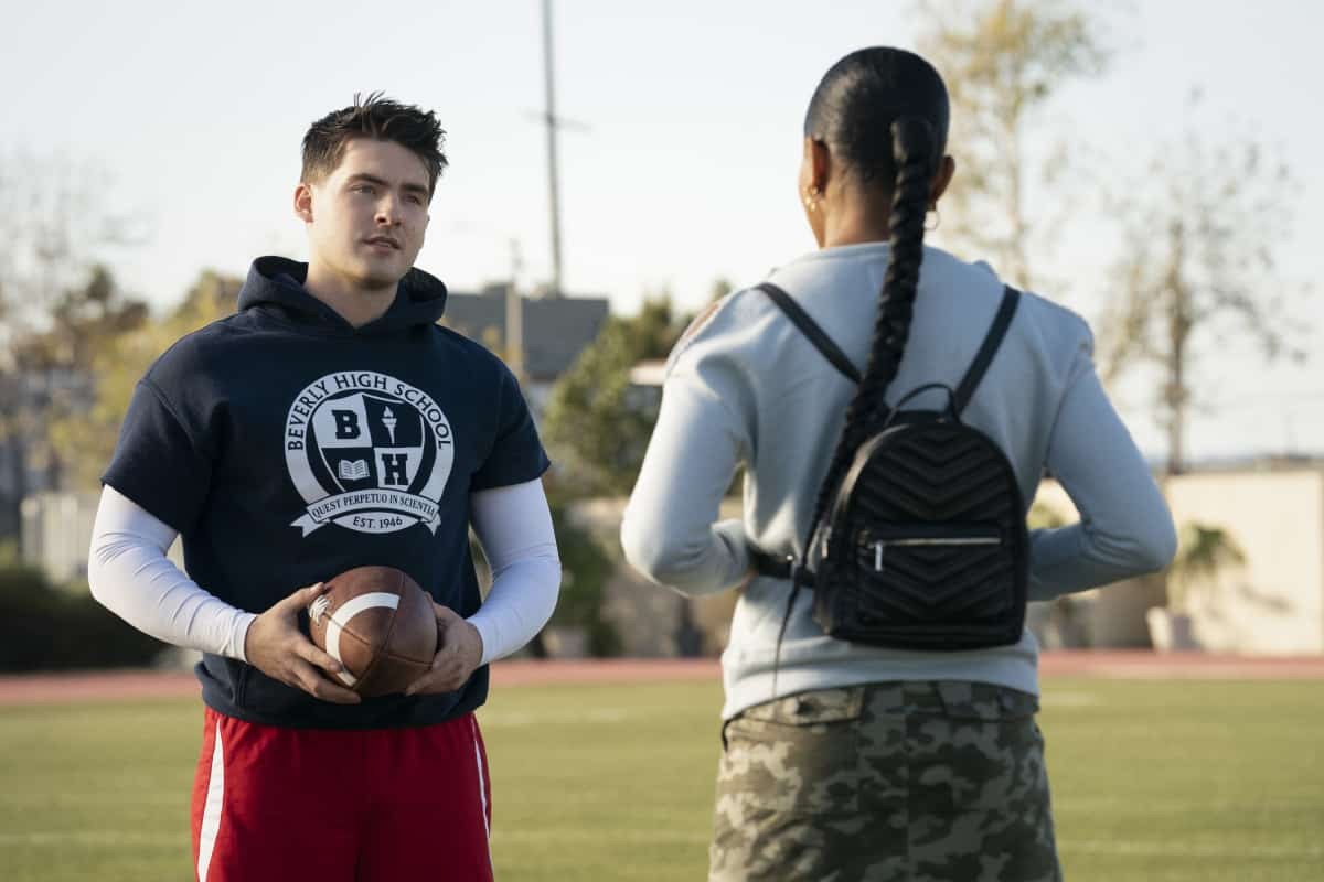 """ALL AMERICAN Season 3 Episode 12 -- """"Fight the Power"""" -- Image Number: ALA312a_0401r.jpg -- Pictured (L-R):  Cody Christian as Asher and Geffri Maya as Simone -- Photo: Erik Voake/The CW -- © 2021 The CW Network, LLC. All Rights Reserved"""
