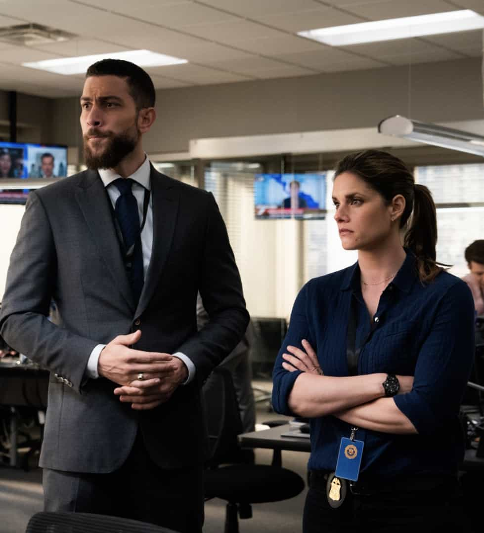 """FBI Season 3 Episode 14 """"Trigger Effect"""" - While investigating a mass casualty incident at a New York City restaurant, the team scrambles to determine if it was racially motivated and if there was more than one gunman. Also, Maggie begins to notice troubling behavior from her co-worker, Elise (Vedette Lim), on FBI, Tuesday, May 18 (9:00-10:00 PM, ET/PT) on the CBS Television Network.. Pictured (l-r) Zeeko Zaki  as  Special Agent Omar Adom 'OA' Zidan and  Missy Peregrym as Special Agent Maggie Bell Photo: Michael Parmelee/ ©2021 CBS Broadcasting, Inc. All Rights Reserved."""