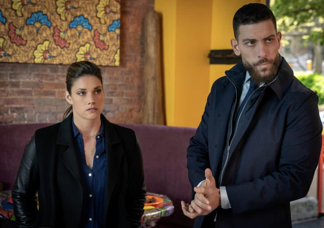 """FBI Season 3 Episode 14 """"Trigger Effect"""" - While investigating a mass casualty incident at a New York City restaurant, the team scrambles to determine if it was racially motivated and if there was more than one gunman. Also, Maggie begins to notice troubling behavior from her co-worker, Elise (Vedette Lim), on FBI, Tuesday, May 18 (9:00-10:00 PM, ET/PT) on the CBS Television Network.. Pictured (l-r) Missy Peregrym as Special Agent Maggie Bell and Zeeko Zaki  as  Special Agent Omar Adom 'OA' Zidan Photo: Michael Parmelee/ ©2021 CBS Broadcasting, Inc. All Rights Reserved."""