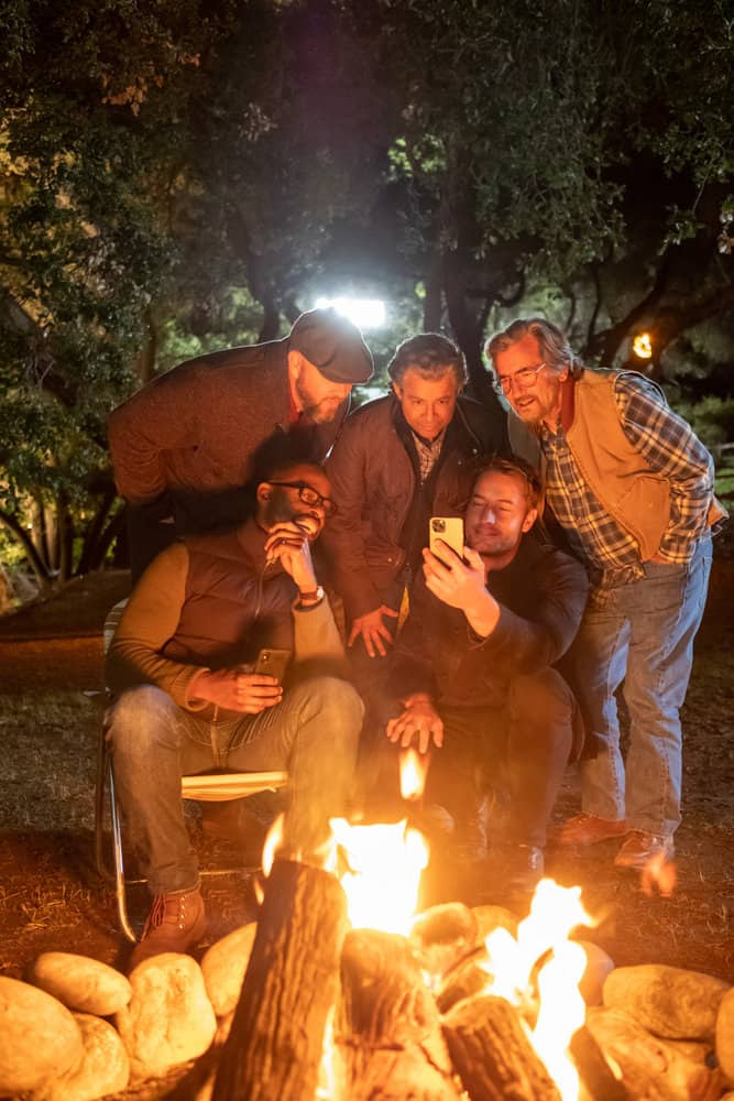 """THIS IS US Season 5 Episode 15 -- """"Jerry 2.0"""", Episode 515 -- Pictured: (l-r) Sterling K. Brown as Randall, Chris Sullivan as Toby, Jon Hertas as Miguel, Griffin Dunne as Nicky, Justin Hartley as Kevin -- (Photo by: Ron Batzdorff/NBC)"""