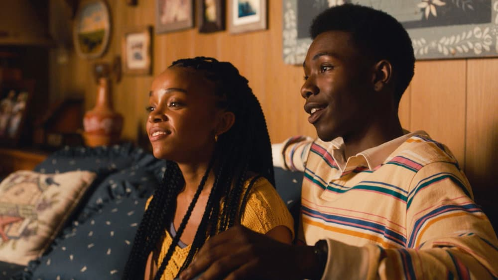 """THIS IS US Season 5 Episode 15-- """"Jerry 2.0"""" Episode 515 -- Pictured in this screengrab: (l-r) Rachel Hilson as Beth, Niles Fitch as Randall -- (Photo by: NBC)"""