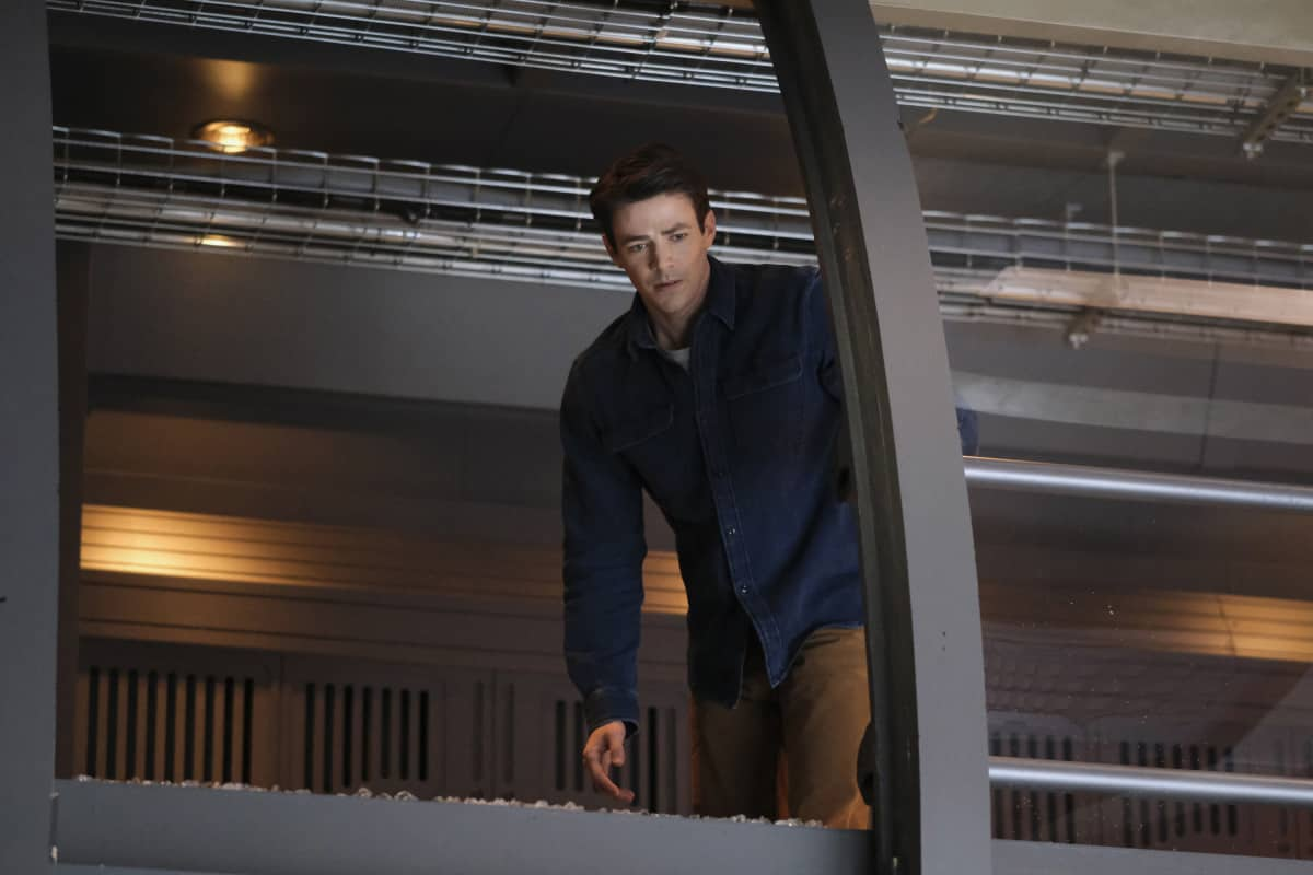 """THE FLASH Season 7 Episode 10 -- """"Family Matters, Part 1"""" -- Image Number: FLA710a_0073r.jpg -- Pictured: Grant Gustin as Barry Allen -- Photo: Bettina Strauss/The CW -- © 2021 The CW Network, LLC. All Rights Reserved.Photo Credit: Bettina Strauss"""