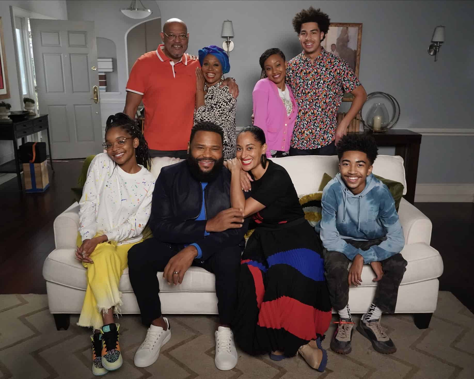 """BLACK-ISH Season 7 Episode 21 - """"Urban Legend"""" – Dre feels pigeonholed to the urban marketing team at Stevens & Lido and realizes he needs to make some big career changes. Boyz II Men stop by the office to help out the team with a SoFi campaign pitch.  Meanwhile, Junior has to deal with the twins who are overstaying their welcome at his and Olivia's apartment on the season finale of """"black-ish,"""" TUESDAY, MAY 18 (9:00-9:30 p.m. EDT), on ABC. (ABC/Richard Cartwright) SITTING: MARSAI MARTIN, ANTHONY ANDERSON, TRACEE ELLIS ROSS, MILES BROWN, STANDING: LAURENCE FISHBURNE, JENIFER LEWIS, KATLYN NICHOL, MARCUS SCRIBNER"""