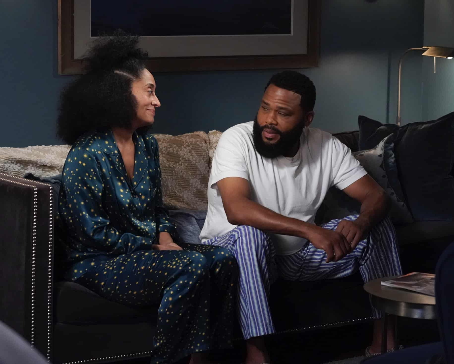 """BLACK-ISH Season 7 Episode 21 - """"Urban Legend"""" – Dre feels pigeonholed to the urban marketing team at Stevens & Lido and realizes he needs to make some big career changes. Boyz II Men stop by the office to help out the team with a SoFi campaign pitch.  Meanwhile, Junior has to deal with the twins who are overstaying their welcome at his and Olivia's apartment on the season finale of """"black-ish,"""" TUESDAY, MAY 18 (9:00-9:30 p.m. EDT), on ABC. (ABC/Richard Cartwright) TRACEE ELLIS ROSS, ANTHONY ANDERSON"""