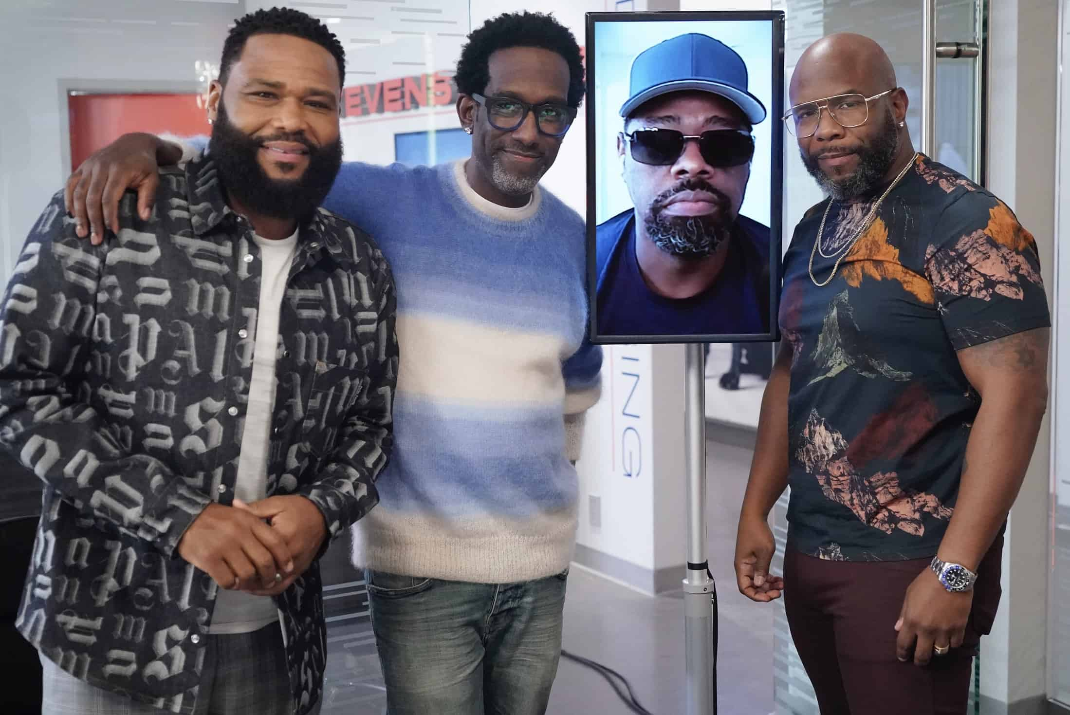 """BLACK-ISH Season 7 Episode 21 - """"Urban Legend"""" – Dre feels pigeonholed to the urban marketing team at Stevens & Lido and realizes he needs to make some big career changes. Boyz II Men stop by the office to help out the team with a SoFi campaign pitch.  Meanwhile, Junior has to deal with the twins who are overstaying their welcome at his and Olivia's apartment on the season finale of """"black-ish,"""" TUESDAY, MAY 18 (9:00-9:30 p.m. EDT), on ABC. (ABC/Richard Cartwright) ANTHONY ANDERSON, SHAWN STOCKMAN, WANYA MORRIS"""