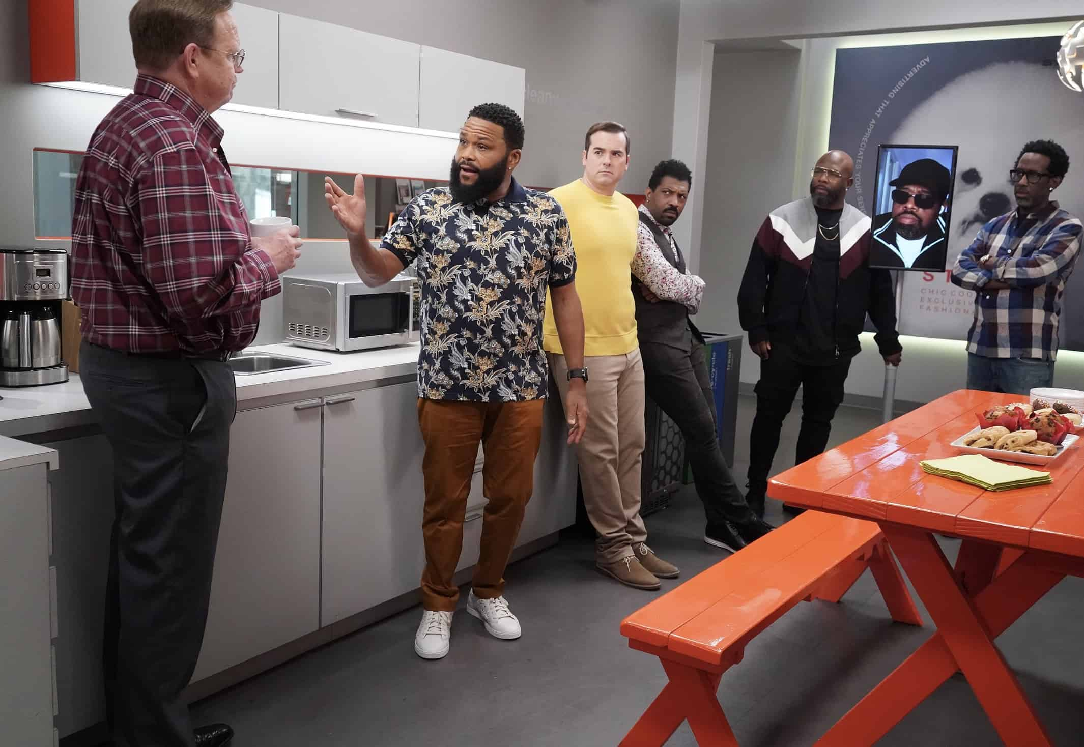 """BLACK-ISH Season 7 Episode 21- """"Urban Legend"""" – Dre feels pigeonholed to the urban marketing team at Stevens & Lido and realizes he needs to make some big career changes. Boyz II Men stop by the office to help out the team with a SoFi campaign pitch.  Meanwhile, Junior has to deal with the twins who are overstaying their welcome at his and Olivia's apartment on the season finale of """"black-ish,"""" TUESDAY, MAY 18 (9:00-9:30 p.m. EDT), on ABC. (ABC/Richard Cartwright) PETER MACKENZIE, ANTHONY ANDERSON, JEFF MEACHAM, DEON COLE, WANYA MORRIS, SHAWN STOCKMAN"""