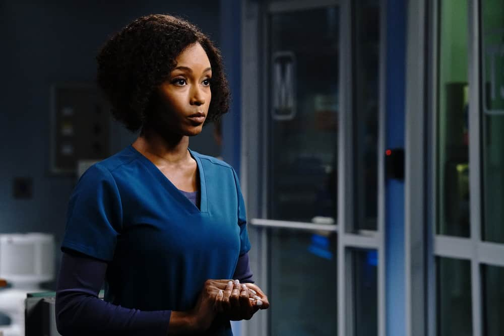 """CHICAGO MED Season 6 Episode 15 -- """"Stories, Secrets, Half Truth and Lies"""" Episode 615 -- Pictured: Yaya DaCosta as April Sexton -- (Photo by: Elizabeth Sisson/NBC)"""
