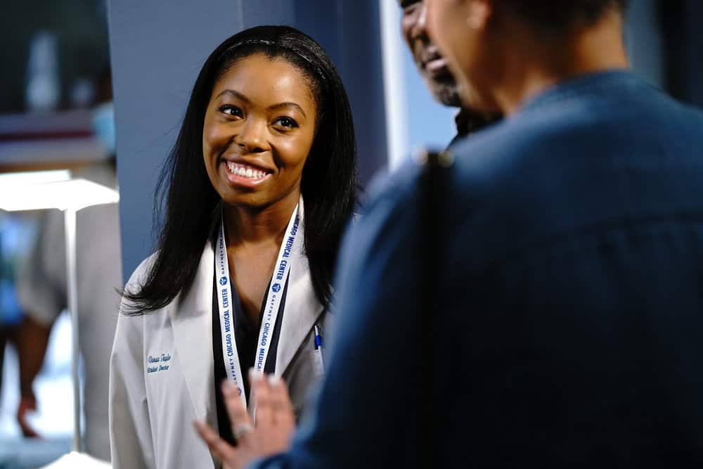 """CHICAGO MED Season 6 Episode 15 -- """"Stories, Secrets, Half Truth and Lies"""" Episode 615 -- Pictured: Asjha Cooper as Vanessa Taylor -- (Photo by: Elizabeth Sisson/NBC)"""