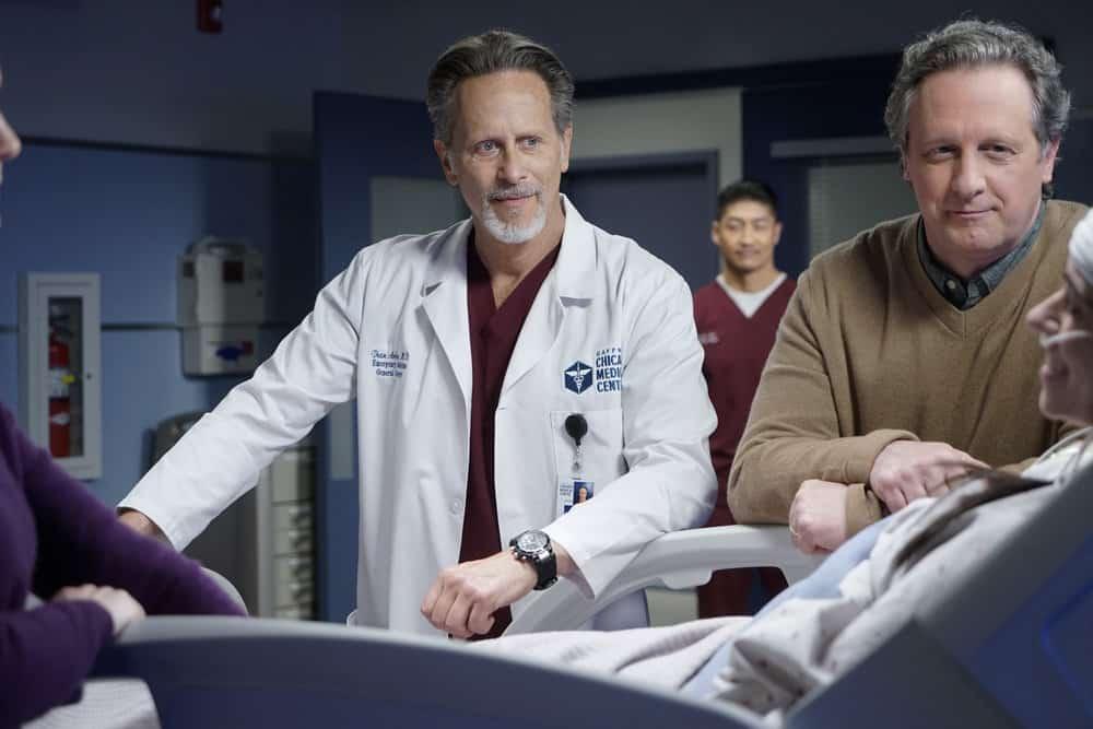 "CHICAGO MED Season 6 Episode 15 -- ""Stories, Secrets, Half Truth and Lies"" Episode 615 -- Pictured: (l-r) Steven Weber as Dr. Dean Archer -- (Photo by: Elizabeth Sisson/NBC)"