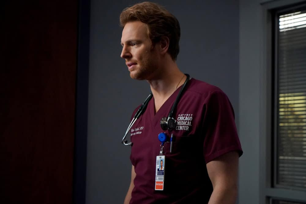 """CHICAGO MED Season 6 Episode 15 -- """"Stories, Secrets, Half Truth and Lies"""" Episode 615 -- Pictured: Nick Gehlfuss as Dr. Will Halstead -- (Photo by: Elizabeth Sisson/NBC)"""