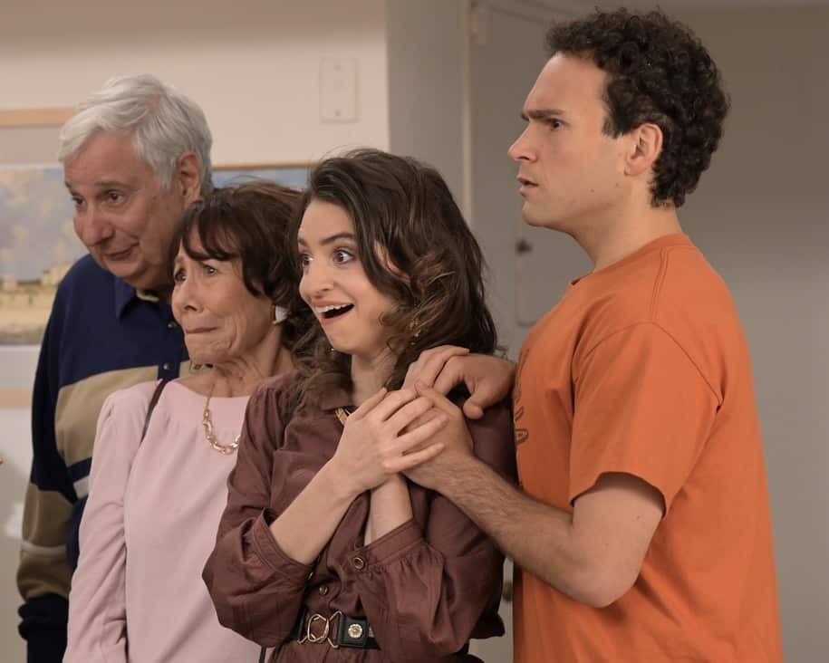 """THE GOLDBERGS Season 8 Episode 22- """"The Proposal"""" – Geoff shares with the JTP that he is planning on asking Erica to marry him and gives them the engagement ring for safekeeping. Like any good romantic comedy, several miscommunications and misunderstandings between Geoff and Erica's friends and family result in a potential derailing of the proposal, forcing Adam to step in to keep the couple's special moment alive on the season finale of """"The Goldbergs,"""" WEDNESDAY, MAY 19 (8:00-8:30 p.m. EDT), on ABC. (ABC/Temma Hankin) KEN LERNER, MINDY STERLING, BETH TRIFFON, TROY GENTILE"""