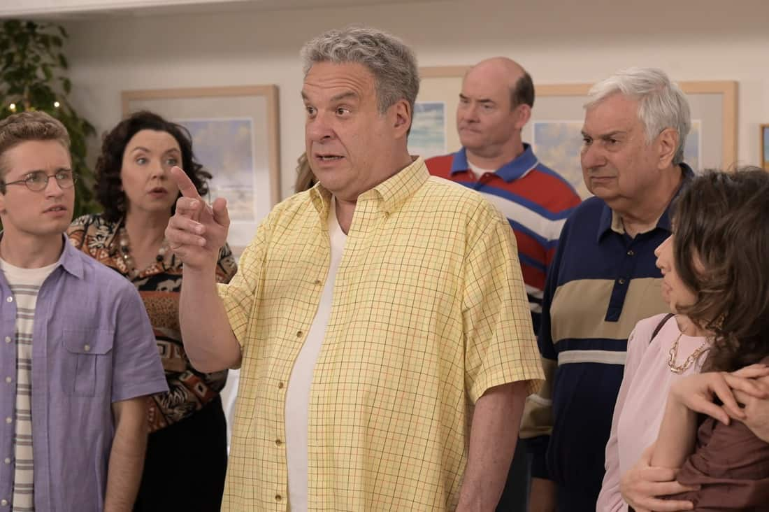 """THE GOLDBERGS Season 8 Episode 22 - """"The Proposal"""" – Geoff shares with the JTP that he is planning on asking Erica to marry him and gives them the engagement ring for safekeeping. Like any good romantic comedy, several miscommunications and misunderstandings between Geoff and Erica's friends and family result in a potential derailing of the proposal, forcing Adam to step in to keep the couple's special moment alive on the season finale of """"The Goldbergs,"""" WEDNESDAY, MAY 19 (8:00-8:30 p.m. EDT), on ABC. (ABC/Temma Hankin) SEAN GIAMBRONE, STEPHANIE COURTNEY, JEFF GARLIN, DAVID KOECHNER, KEN LERNER"""