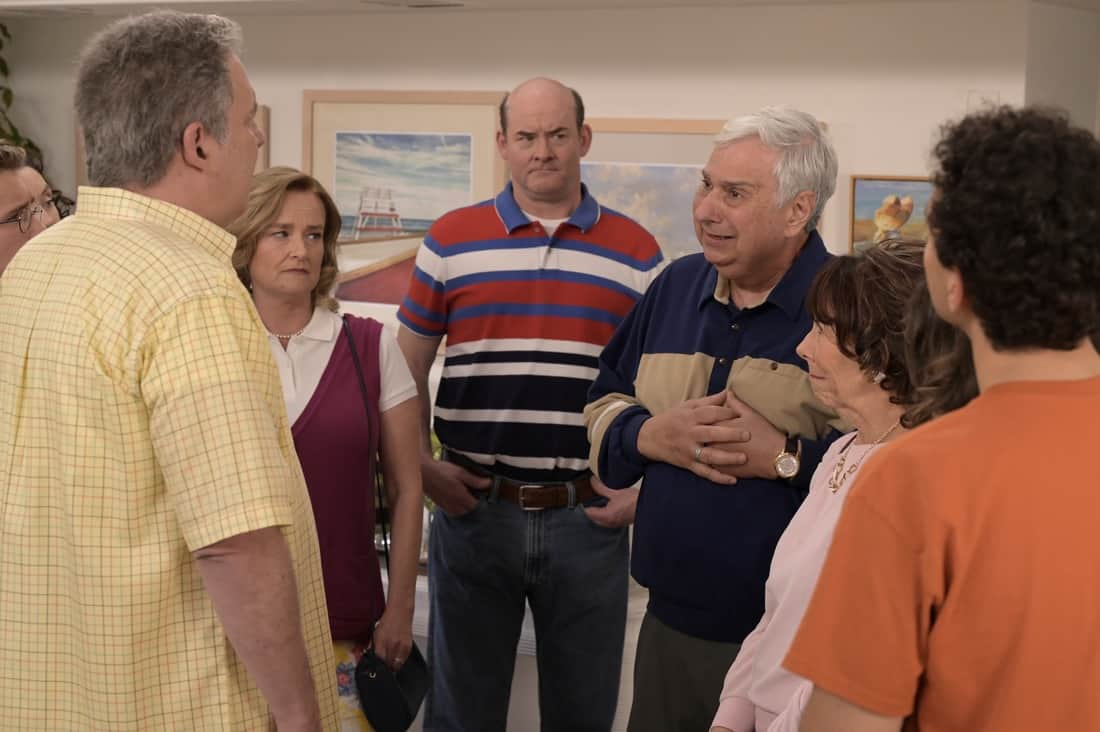 """THE GOLDBERGS Season 8 Episode 22- """"The Proposal"""" – Geoff shares with the JTP that he is planning on asking Erica to marry him and gives them the engagement ring for safekeeping. Like any good romantic comedy, several miscommunications and misunderstandings between Geoff and Erica's friends and family result in a potential derailing of the proposal, forcing Adam to step in to keep the couple's special moment alive on the season finale of """"The Goldbergs,"""" WEDNESDAY, MAY 19 (8:00-8:30 p.m. EDT), on ABC. (ABC/Temma Hankin) JENNIFER IRWIN, DAVID KOECHNER, KEN LERNER, MINDY STERLING"""