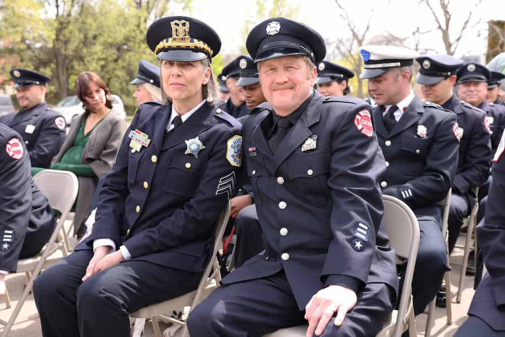 """CHICAGO FIRE Season 9 Episode 15 -- """"A White Knuckle Panic"""" Episode 915 -- Pictured: (l-r) Amy Morton as Trudy Platt, Christian Stolte as Randall """"Mouch"""" McHolland -- (Photo by: Adrian S. Burrows Sr./NBC)"""