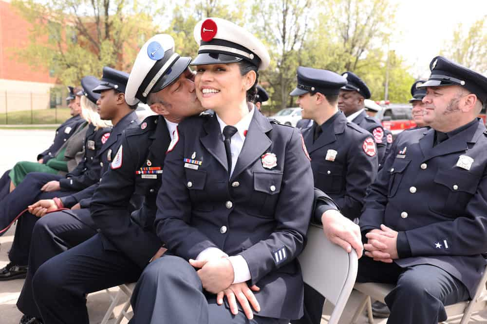 """CHICAGO FIRE Season 9 Episode 15 -- """"A White Knuckle Panic"""" Episode 915 -- Pictured: (l-r) Taylor Kinney as Kelly Severide, Miranda Rae Mayo as Stella Kidd -- (Photo by: Adrian S. Burrows Sr./NBC)"""