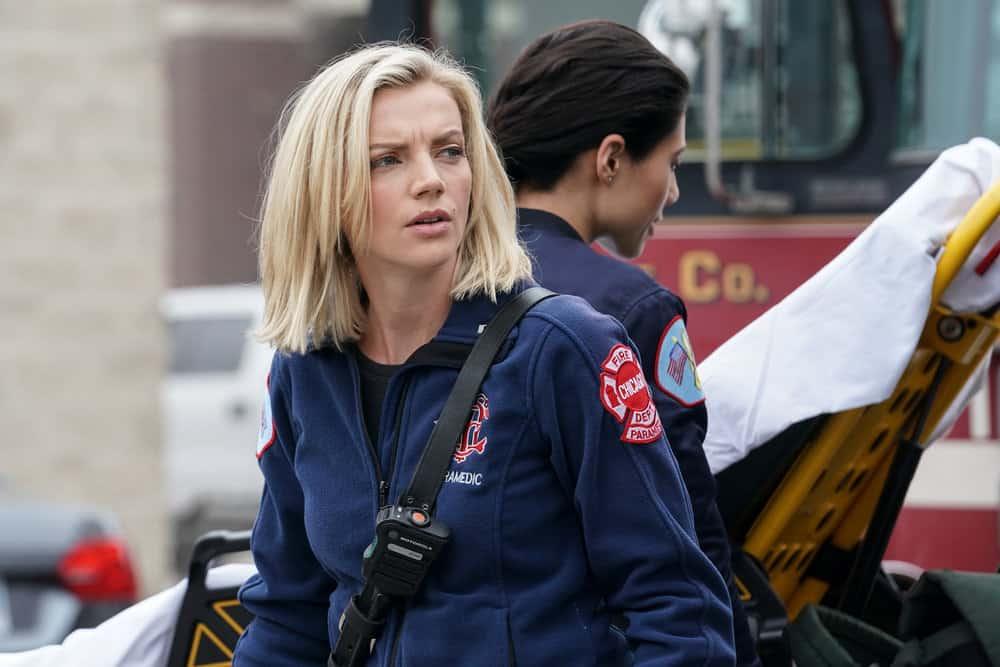 "CHICAGO FIRE Season 9 Episode 15 -- ""A White Knuckle Panic"" Episode 915 -- Pictured: Kara Killmer as Sylvie Brett -- (Photo by: Lori Allen/NBC)"